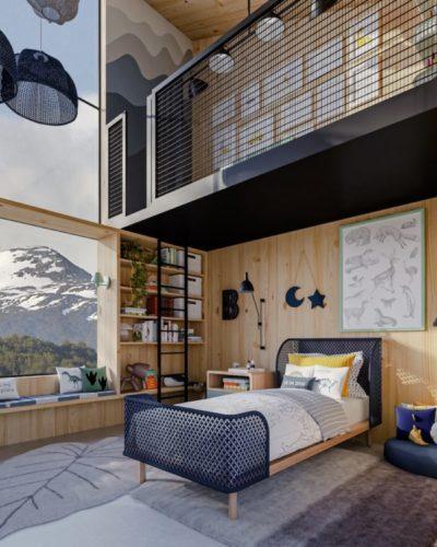 Casa na Toca - mostra virtual a partir de uma casa real na Patagônia Chilena. Imagem em 3d de uma quarto de menino com as paredes revestidas em madeira e uma grande janela com vista para montanhas com topo de neve