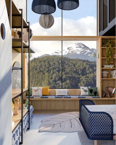 Imagem em 3d de um janelão com banco em frente e a vista para montanhas com topo de neve