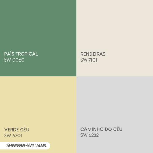 Qaudro com 4 cores da marca Sherwin- Williams. Verde, bege clarinho. azul clarinho e amarelo clarinho