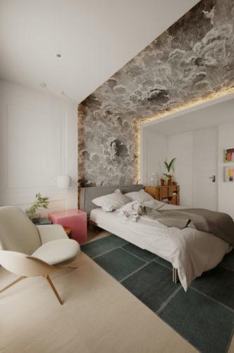 Apartamento inspirado nas estações do ano, no quarto papel de parede atras da cama e subindo pelo teto com estampa de nuvens ventando e cinzs.