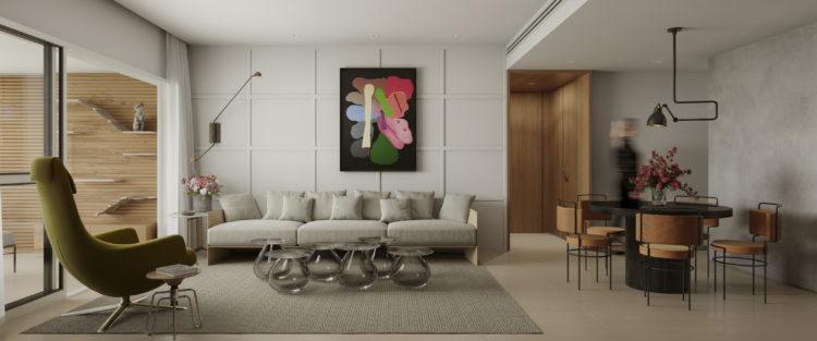 Apartamento inspirado nas estações do ano, sala ampla com varanda. Parede atras do sofá com molduras tipo boiserie, no hall de entrada uma ciaxa de madeira, com teto e paredes revstidas .