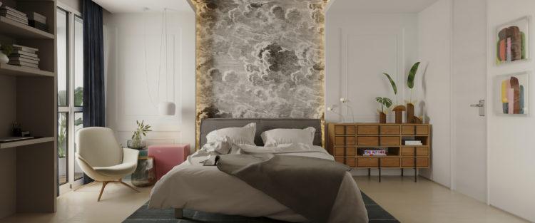 Apartamento inspirado nas estações do ano, papel de paede atras da cama subindo pelo teto , com estampa de nuvens e vento.