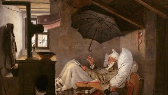 Ilustração de um quarto de serviço, ou chambre de bonne em francês, antigamente como era na França