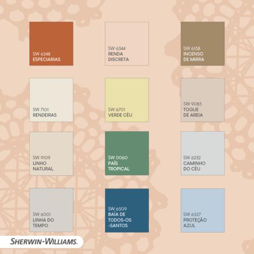 A Bahia Collection - collab da Sherwin-Williams e Pedro Franco. As 12 cores que compoe a coleção