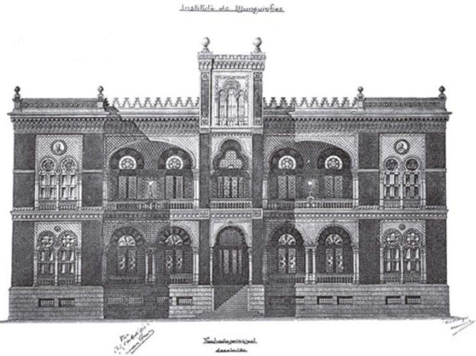 Desenho do Primeiro projeto de Luiz Moraes Jr. para a sede do Instituto Oswaldo Cruz, 1905 (Acervo DAD/Fiocruz)