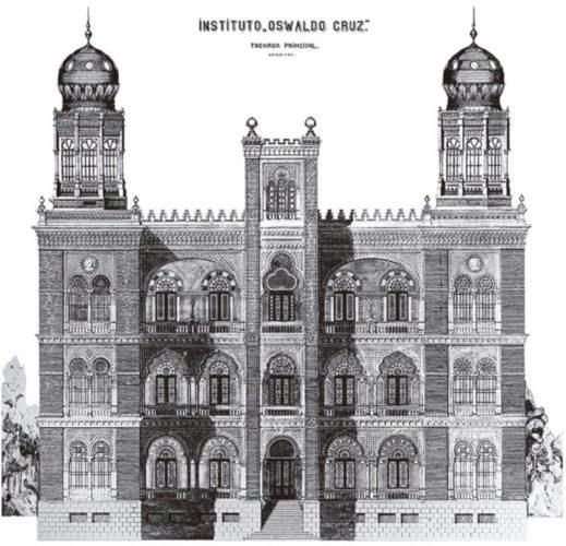 Desenho do Projeto definitivo do Pavilhão Mourisco; autoria de Luiz Moraes Jr., 1908 (acervo DAD/Fiocruz)