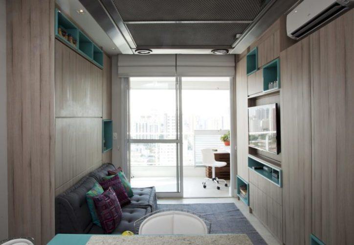 Dicas para imóvel com metragem reduzida, armários com nichos coloridos