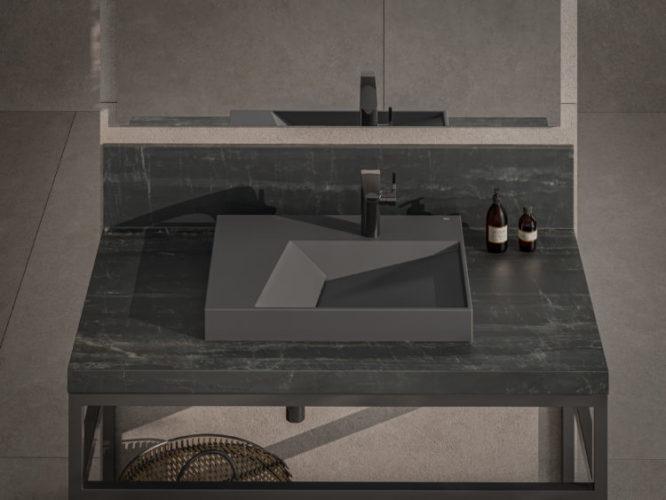 Bancada de banheiro, com uma cuba preta , design de arquiteto João Armentano