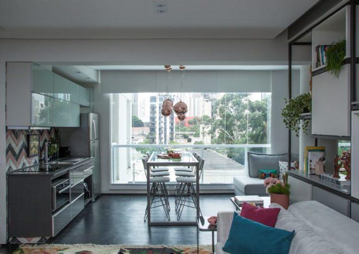 Dicas para imóvel com metragem reduzida, integrar os espaços como sala e cozinha