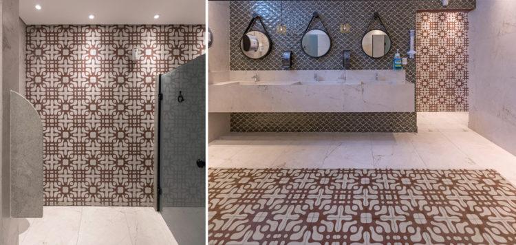 Ladrilhos Hidráulicos: tudo que você precisa saber para usá-los em pisos e paredes. Banheiro grande, em espaço comercial.