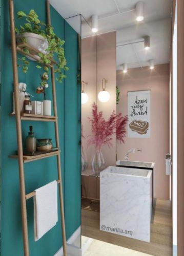 O poder das cores nos ambientes, lavabo com uma parede pintada na cor verde turquesa e parede de fundo espelhada