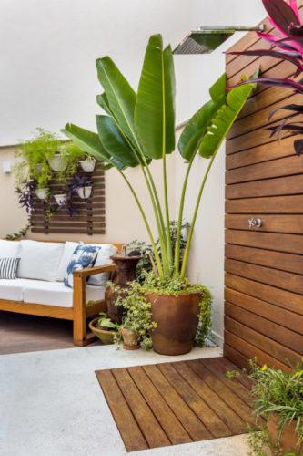Apartamento térreo com ares de casa, área externa com deck em madeira no piso e na parede delimitando o espaço do chuveiro, ao lado um vaso com palmeira