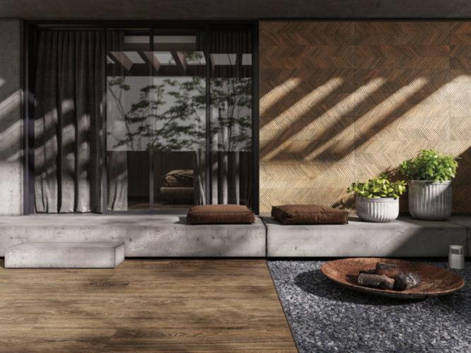 Área externa, com porcelanato imitando madeira no piso, banco ao longo da parede e futtons
