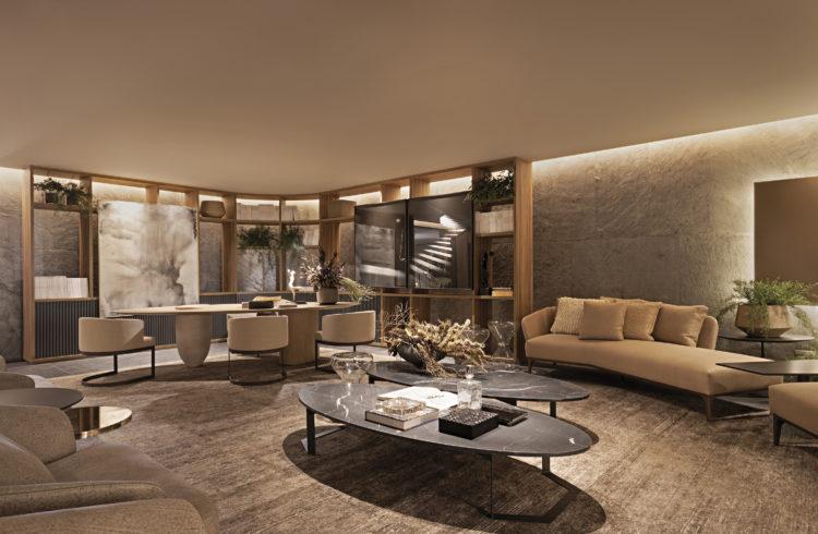Ambiente da loja Artefacto decorado pelo arquiteto Carlos Rossi. Living em tons de bege