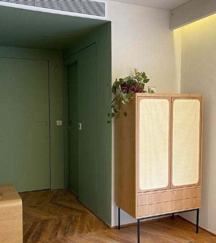 Hall de entrada tem as paredes lateais, teto e portas pintados de verde, o que da a ideia de um quadrado