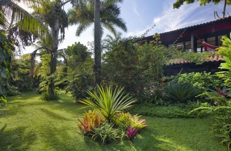 1400m2 de jardins exuberantes na Região dos Lagos no Rio. Gramado extenso com palmeiras e bromélias que camuflam a casa