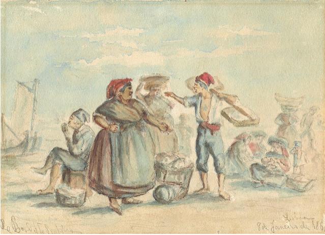 Cena popular ribeirinha com vendedoras de sardinhas, aquarela sobre papel de 1868 por Rafael Bordalo Pinheiro (col. Museu Bordalo Pinheiro, Lisboa)