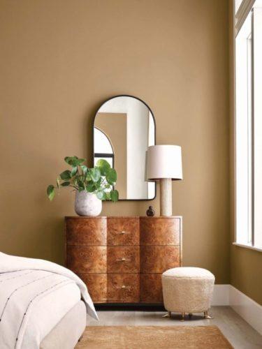 Tons terrosos para as paredes, na foto, uma parede pintada de marrom e uma cômoda em madeira na frete com um vaso de planta, abajur branco e um espelho na parede.